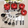 Venta al por mayor Set Kids niños niños juegos de imaginación educación aprenda accesorios de cocina Pot Pan cuchillo de juguete envío gratis