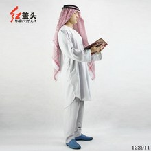 Cotton and linen Embroidery T neck Muslim kaftan man arab thobe 2 pieces