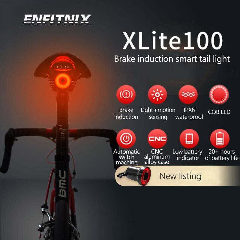 Xlite100 Bicycle Taillight Auto Start/Stop Brake Sensing IPx6 Waterproof LED Charging Cycling Enfitnix 30 Lumens Rear Light Bike