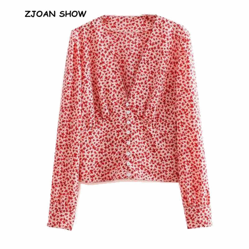 d6c58e2be8be08 2019 New Spring Deep v neck RED Leaves Sharp Print Shirt Women  Single-breasted Buttons