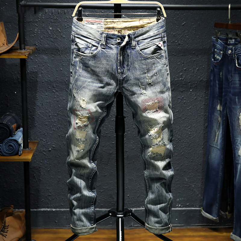 Italian Style Fashion Men Jeans Vintage Design Destroyed Ripped For Slim Fit Cotton Punk Classical homme