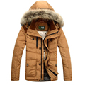 AFS JEEP Men's Down Jacket Winter Coat Man solid Fit Down Coat with fur hood Men Winter Parkas Size M-3XL 3 colors 196z