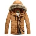 AFS JEEP hombres Abajo Chaqueta Abrigo de Invierno Hombre sólido Ajuste Hacia Abajo abrigo con capucha de piel de Invierno de Los Hombres Parkas Tamaño M-3XL 3 colores 196z