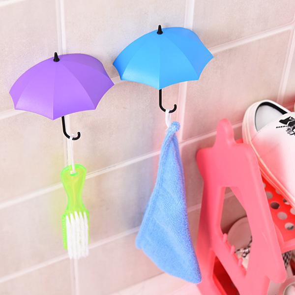 New Umbrella Wall Hook 3pcs/set Cute Umbrella Wall Mount Key Holder Wall Hook Hanger Organizer Durable Key Holder 3