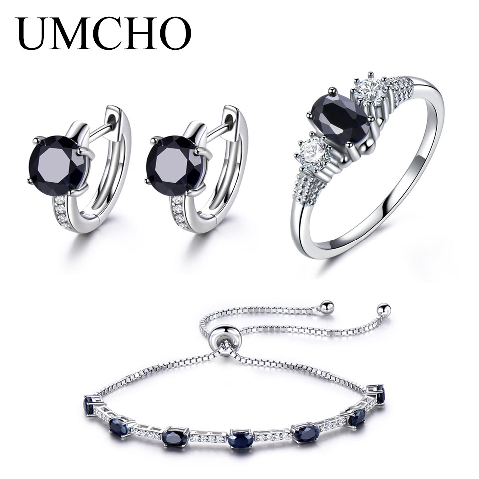 UMCHO Solid 925 Sterling Silver Jewelry Set Natural Black Sapphire Ring Pendant Stud Earrings For Women