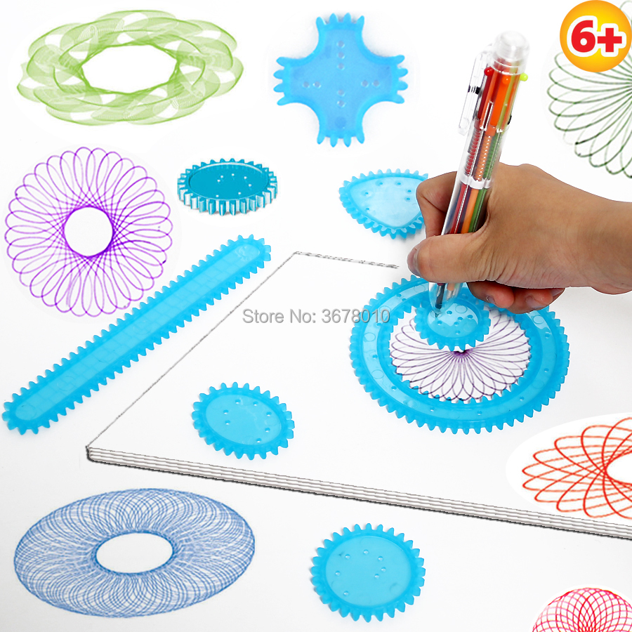 Spirograph Art  Drawing Toys Playset Spiral Designs With 8 Interlocking Gears & Wheels,6-color Pen  Educational Toys For Kids
