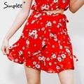 Simplee Boho красный печати шифон юбки женщин Vintage партия оборками короткая юбка Повседневная высокая талия летом пляж юбка