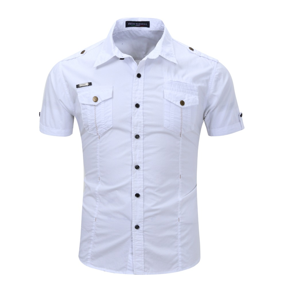 Image 5 - 2019 New Arrive Mens Cargo Shirt Men Casual Shirt Solid Short Sleeve Shirts Multi Pocket Work Shirt Plus Size 100% Cottoncargo shirt mencargo shirtmens cargo shirts -