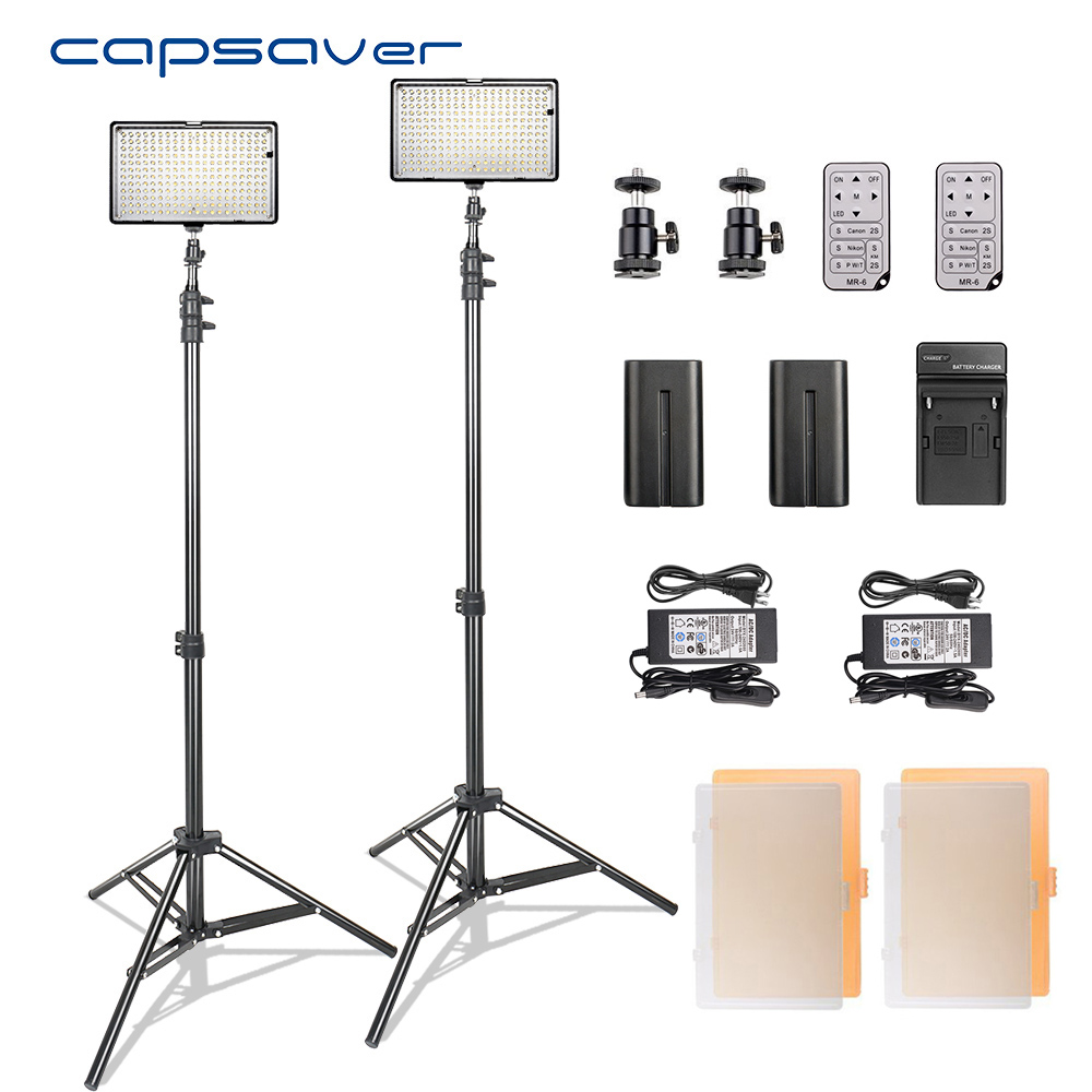 capsaver LED Video Light Photography Lighting Kit with Stand Remote Control 3200K-5600K CRI93 240 LEDs Camera Photo Studio Lamp latour 2400 led photography lighting dms 5600k studio video camera stage light lamp