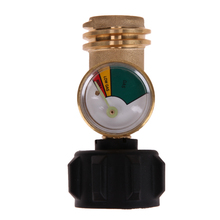 Propane Tank Adapter with Pressure Testing Gauge Gas Grill BBQ Pressure Meter Indicator Fuel Brass