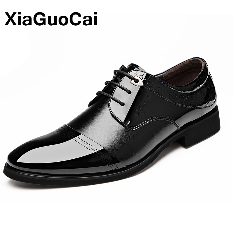 Autumn Luxury Leather Men Dress Shoes British Business Pointed Toe Oxfords Black Brown Comfortable Male Social Shoe High Quality стоимость