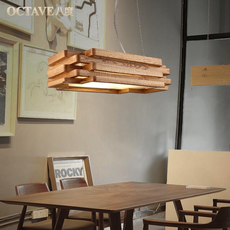 dining room bedroom hanging lamp lighting rectangular solid wood ...