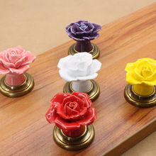 2PCS High Quality Rose Ceramic Cabinet Knobs Drawer Pulls Cartoon Cupboard Hardware Handles European Style