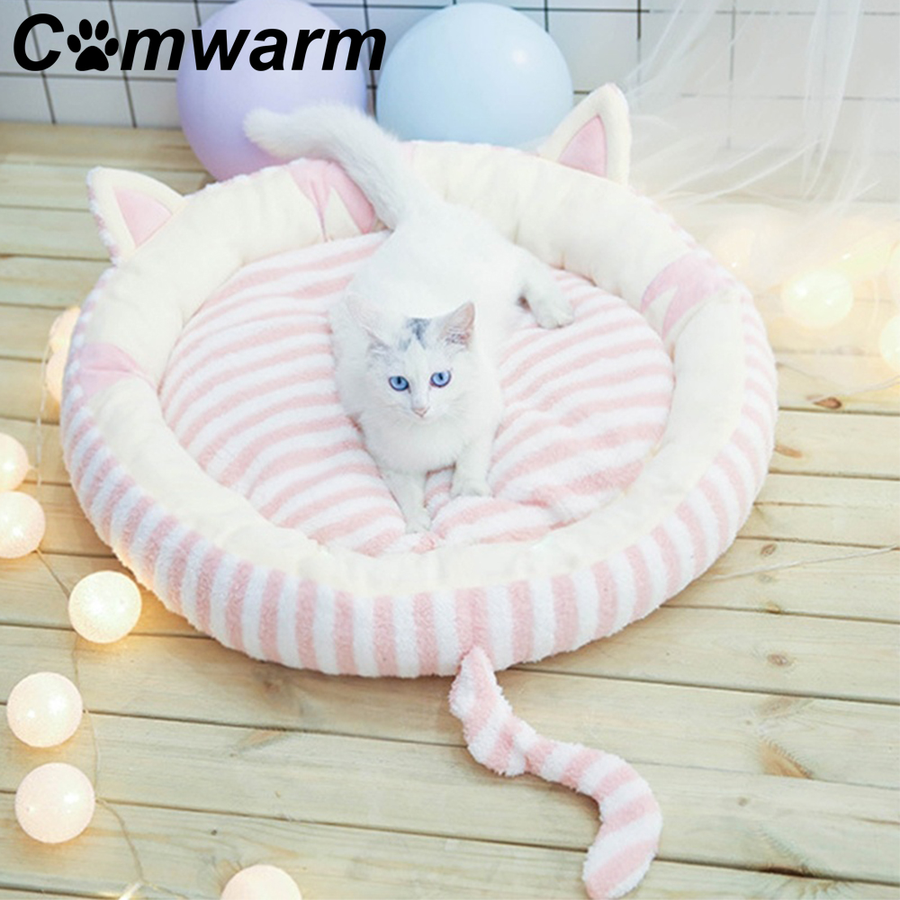 Cute Round Pet Sleeping Bed For Dog Winter Warm Cotton Small Dog Cat Bed Sofa Lovely Bow Soft Cat Small Dog Mat Home & Garden