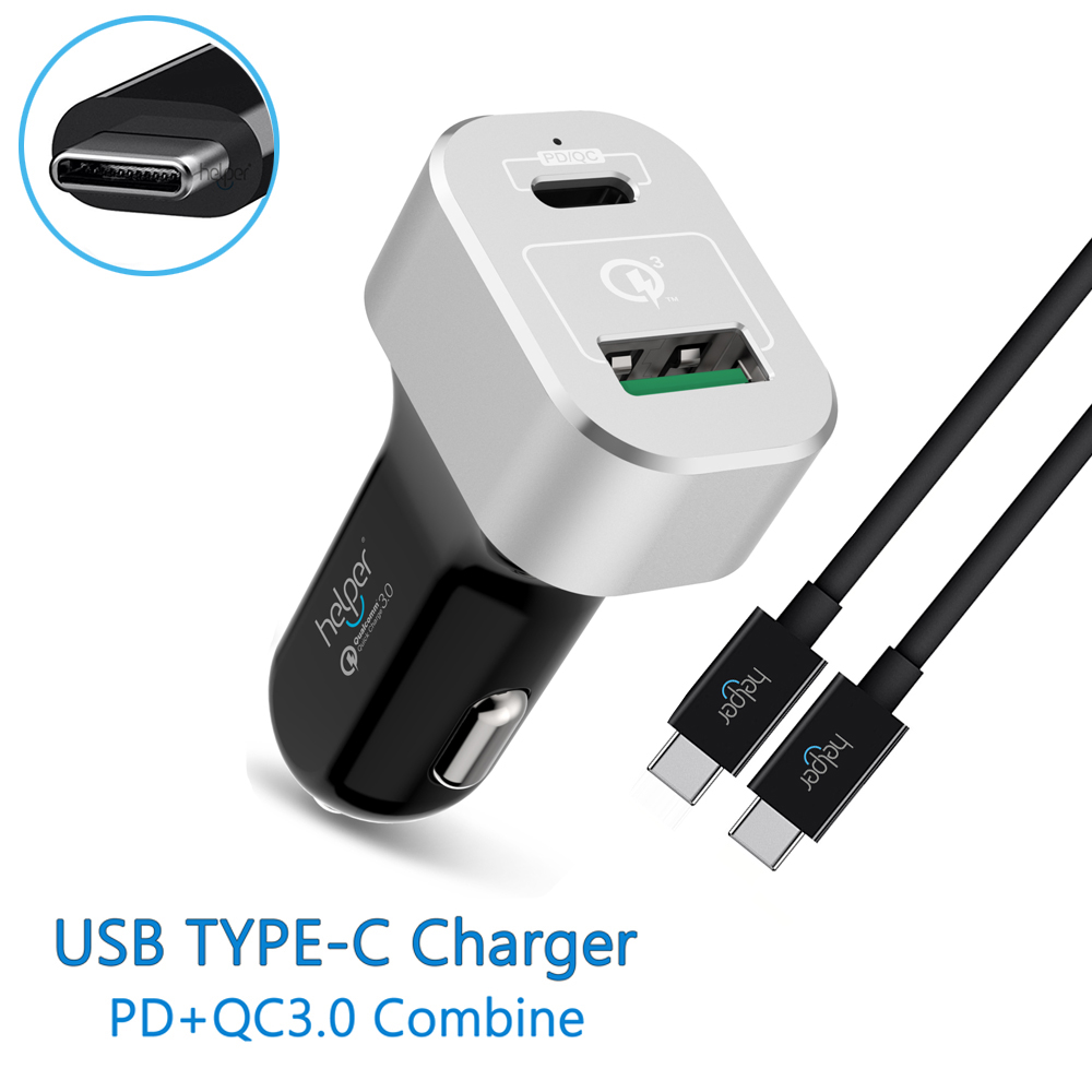 Quick Charge 3.0 & USB Type-C PD 63W 2-Port USB Car Charger for Macbook Pro,Chromebook,XiaoMi Air