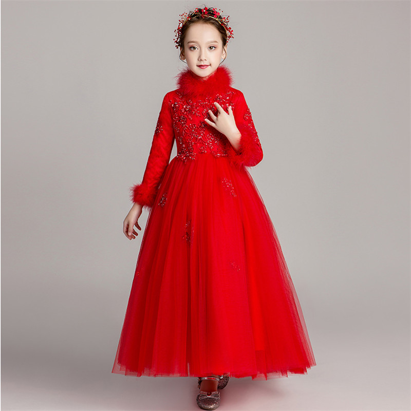 Girls Children Red Long-sleeves thickening Birthday Princess Puffy Lace Dress Model Catwalk New Year Wedding Party Long Dress long sleeves tied belt wrap dress