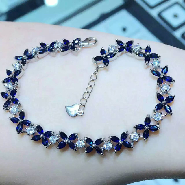 B      925 sterling silver with natural sapphire bracelet with female