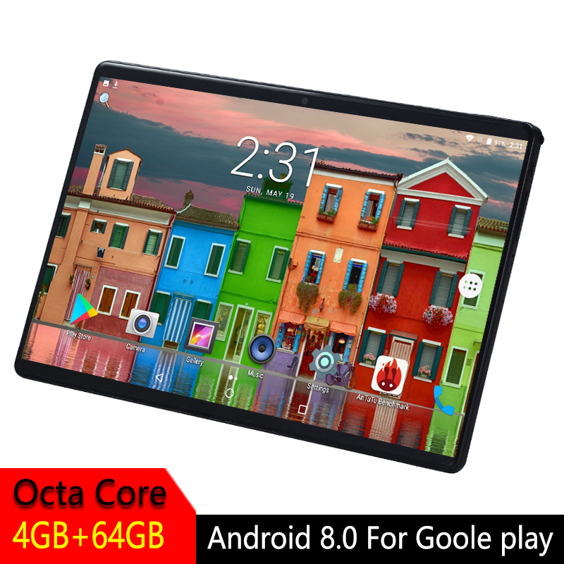 10 inch Tablet Android 2.5D Tempered Glass Screen Octa Core Phone SIM Card WIFI GPS RAM 4GB ROM 64GB Kids Tablet PC Android 8.0 image