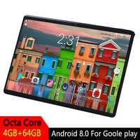 10 pollici Tablet Android 2.5D Temperato Dello Schermo di Vetro Octa Core Del Telefono SIM Card GPS WIFI RAM 4GB di ROM 64GB Bambini Tablet PC Android 8.0