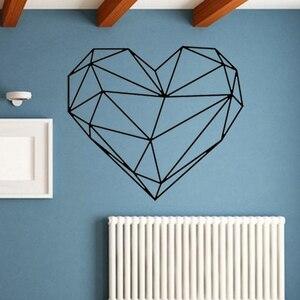 3D геометрические наклейки на стену в форме сердца DIY абстрактные настенные наклейки для гостиной спальни домашний Декор виниловые съемные