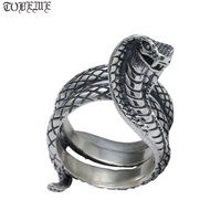 Handcrafted 100% 925 Silver Snake Ring Real Vintage 925 Sterling Man Ring Pure Silver Hip hop Jewelry Surpent Ring Resizable