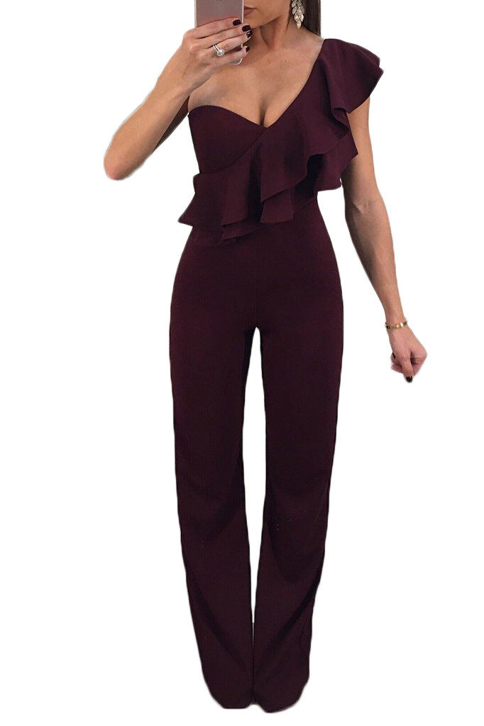 51ff0f22322 HongMiao Ruffle One Shoulder Long Black Jumpsuit Sexy Women Asymmetrical  Flounce Sleeveless Elegant Maxi Jumpsuit One Piece Pant-in Jumpsuits from  Women s ...
