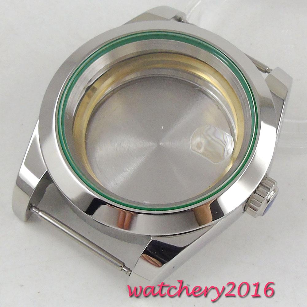 40mm Polished steel sapphire glass automatic Watch Case fit ETA 2824 2836 MIYOTA 8215 8205 Movement цена