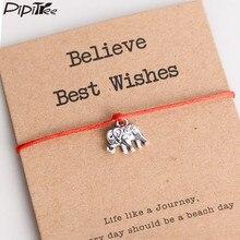 Pipipitree elefante vintage pulseira, acreditar, melhores desejos, cartão de papel, presente, corda vermelha, pulseiras femininas, homens, crianças, joia