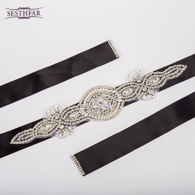 Hot Selling Crystal Rhinestone Pearl Wedding Bridal Dress Belt Cummerbunds Waistband Girdle Accessories Women