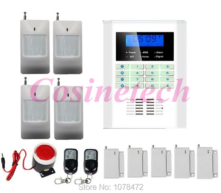 Cheap Free Shipping!101 zone 99 wireless zone and 2 wired Quad-Band LCD home security GSM PSTN alarm system 850/900/1800/1900MHZ free shipping 99 wireless zone and 2 wired quad band lcd home security pstn gsm alarm system 3 pet immune pirs 5 new door sensor
