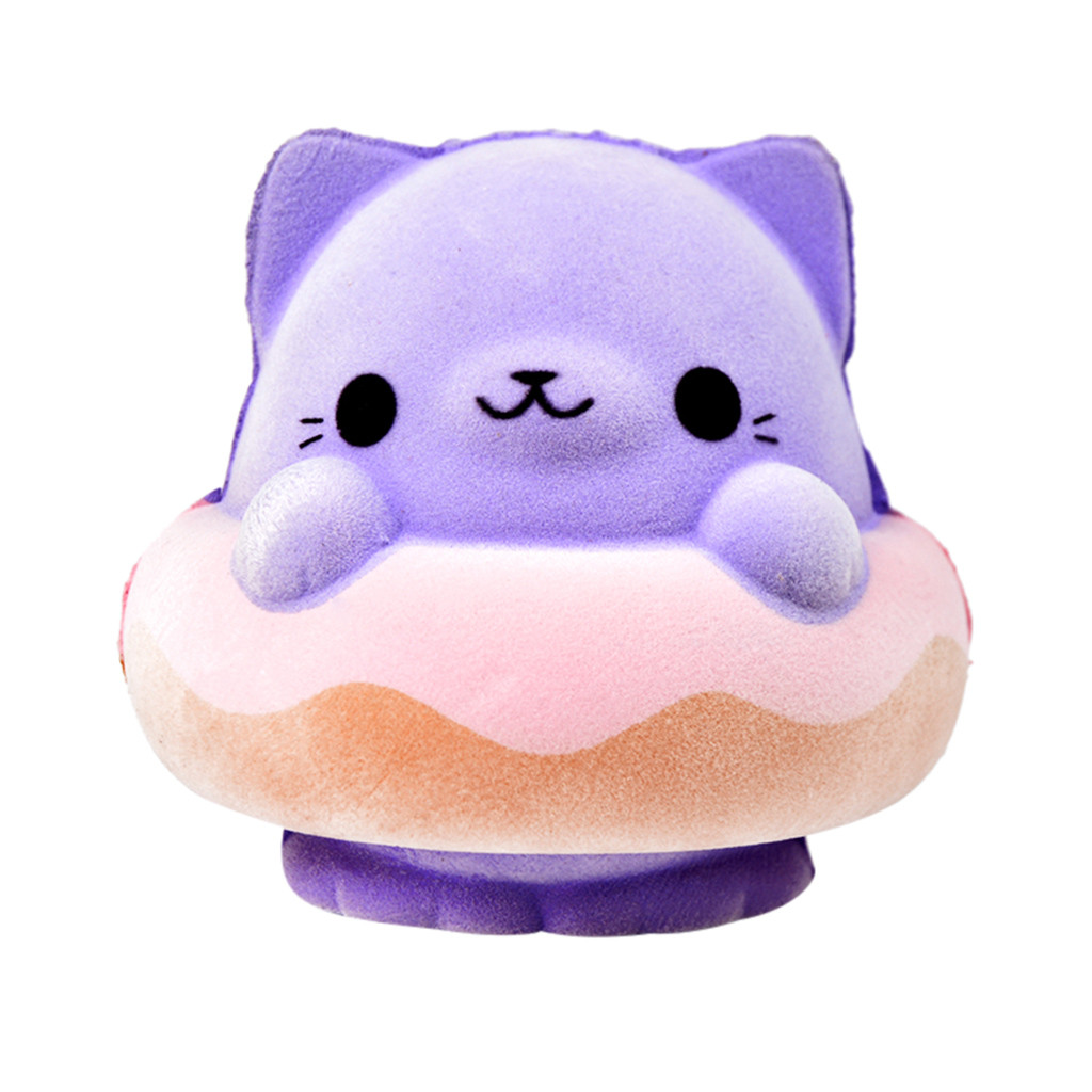 New 2019 Fashion Kawaii Purple Swimming Ring Cat Slow Rising Doll Furry Soft Squeeze Toy Stress Relief Toy For Kids Gift