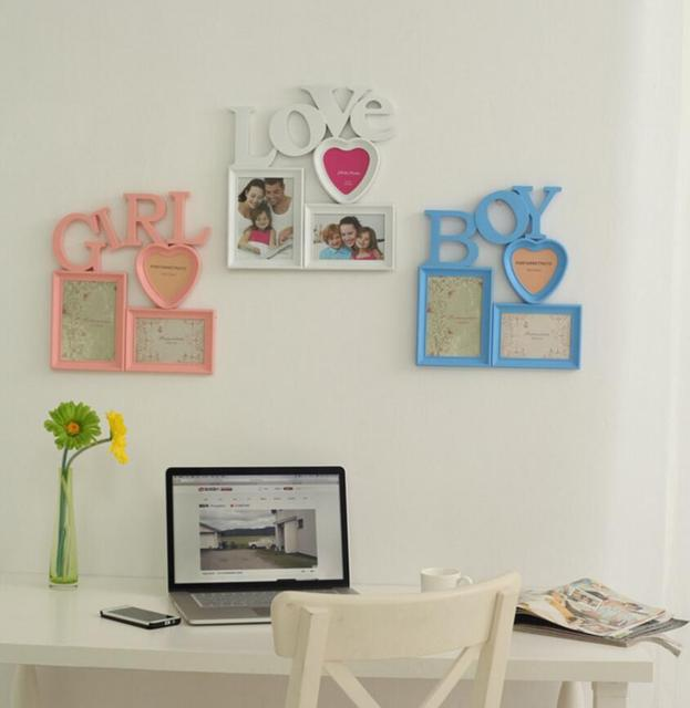 Family Theme Combination 3 Photo Frames Picture Holder Wall Hanging Art Home Room Diy Decor Creative