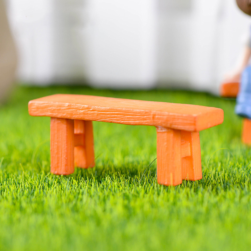 Admirable Us 1 34 20 Off 1Pc Wooden Bench Miniature Figurine Fairy Garden Diy Accessories Doll House Decoration Cartoon Models Plastic Baby Toy In Figurines Bralicious Painted Fabric Chair Ideas Braliciousco