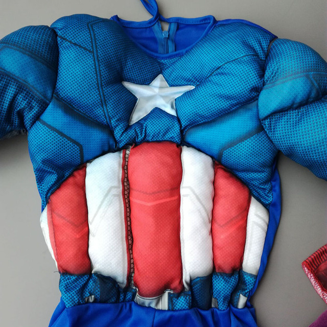 Hot Sell Muscle Captain America Cosplay Costume for Boys Kids Superhero Role Play Halloween Party Costumes Super Hero Cosplay 5