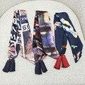 2017 Mujeres de La Gasa de Invierno Borla Pequeña Cinta de La Bufanda de La Pintada Impreso Bufandas de Pelo Banda Twilly Bolsas Manejan Decoración Pajarita S6
