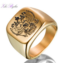 US size 7-13 Polished Eagle Ring Band Biker Men's Rings 316 Stainless Steel A Coat Of Arms The Russian Signet Jewelry Z747(China)