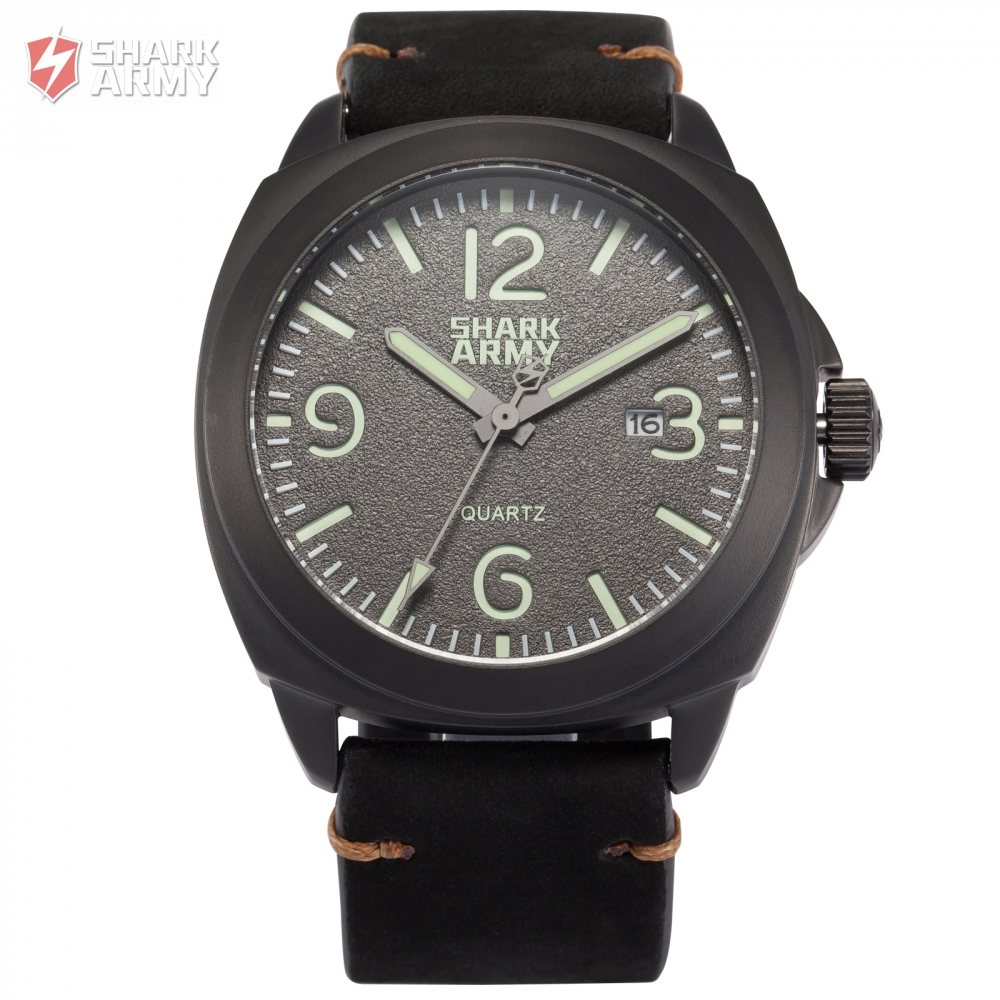 Shark Army Relogio Curren 100m Water Resistant Luminous Paint Black Stainless Steel Leather Strap Military Quartz Watch / SAW184Shark Army Relogio Curren 100m Water Resistant Luminous Paint Black Stainless Steel Leather Strap Military Quartz Watch / SAW184