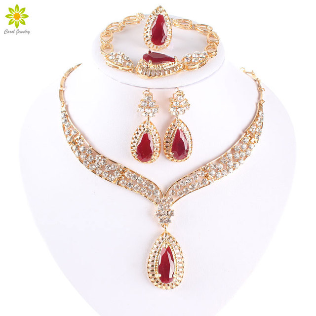 Fashion Crystal Necklace Collar Jewelry Sets For Women Party Accessories African Beads Earrings Bracelet Ring Set Vintage Red
