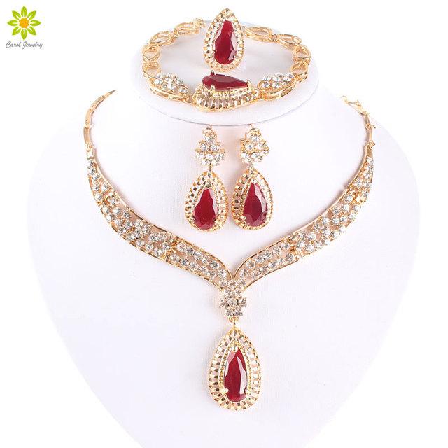 Moda colar de cristal colar de jóias para as mulheres festa acessórios africano brincos pulseira anel do Vintage vermelho