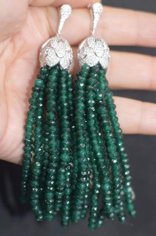 one pair green jade color roundel faceted 4*2mm tassle hook earrings 80mm wholesale beads FPPJ цена