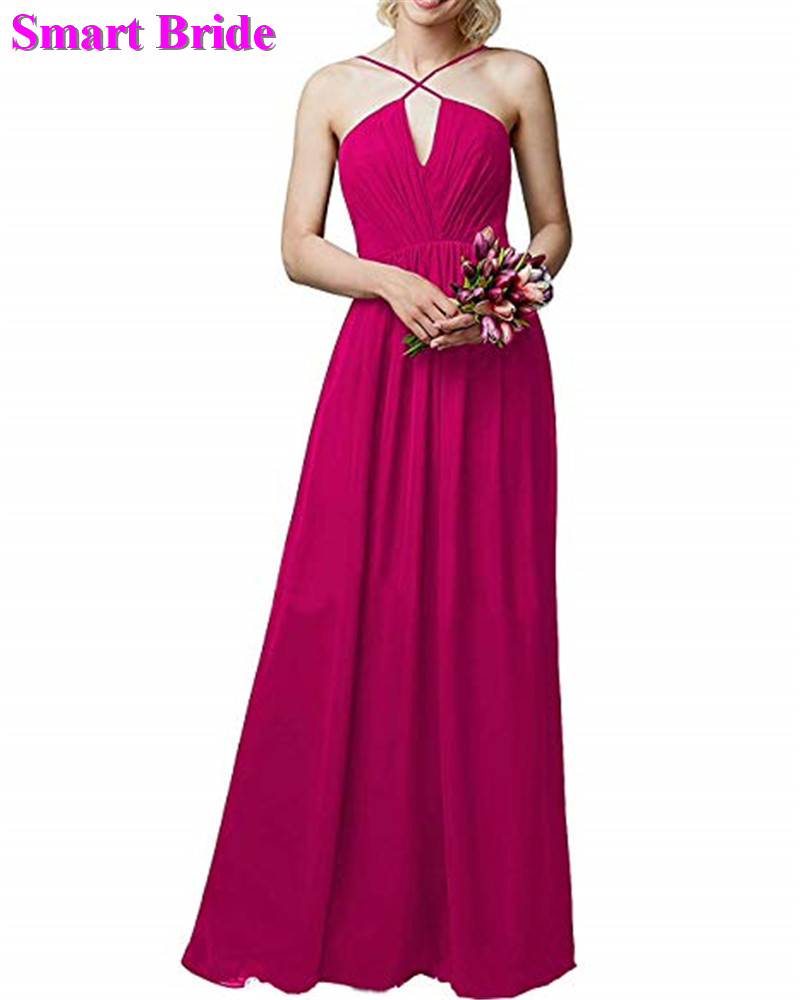 Chiffon   Bridesmaid     Dresses   A-line V Neck Floor Length Long Party Open Back Guest   Dresses   Prom Gown BD86