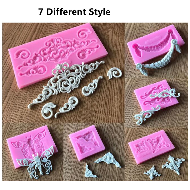 DIY Flower Lace Pattern Border Silicone Mold Cake ...