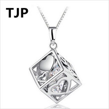 TJP Popular Love Cube Clavicle Pendants Necklace Jewelry Fashion 925 Sterling Silver Choker For Women Engagement Party
