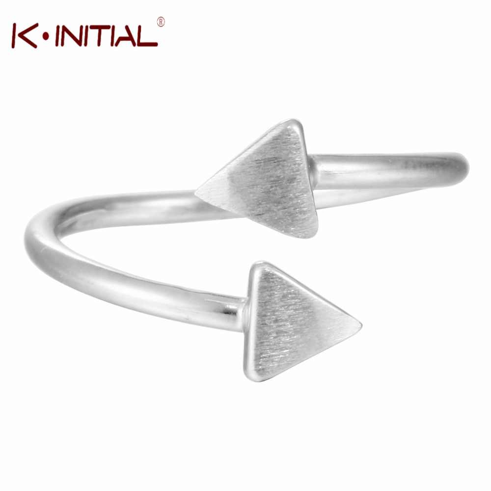 Geometry Triangle Rings 925 Sterling Silver Openable Double Triangle Ring for Women Girls Party Cute Gift Kinitial Brand
