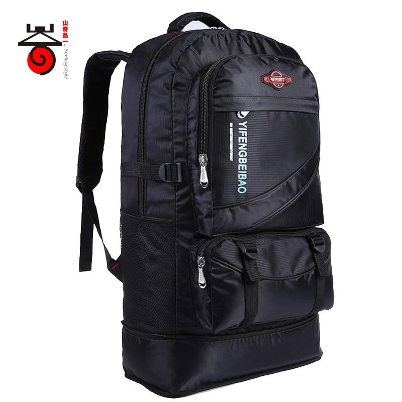 Senkeystyle 2017 velkokapacitní 60L nastavitelný vodotěsný Nylon Women & Men cestovní batoh Teenageři taška na notebook Student Schoolbag