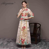 Women Chinese Traditional Wedding Dress Qipao Oriental Style Marry Dresses Modern Long Cheongsam China Dragon Phoenix Retro Gown