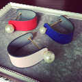 Big Pu leather Double Pearl Bangles Baroque wristband wide Bangle girl Bjoux femme Jewelry