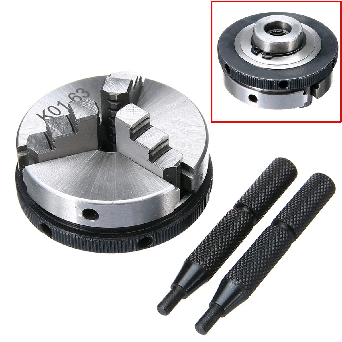 "1pc K01-63 63mm 3 Jaw Metal Lathe Chuck 2.5"" M14 Mini Metalworking Machine Accessories Tool with 2pcs Rods Mayitr"