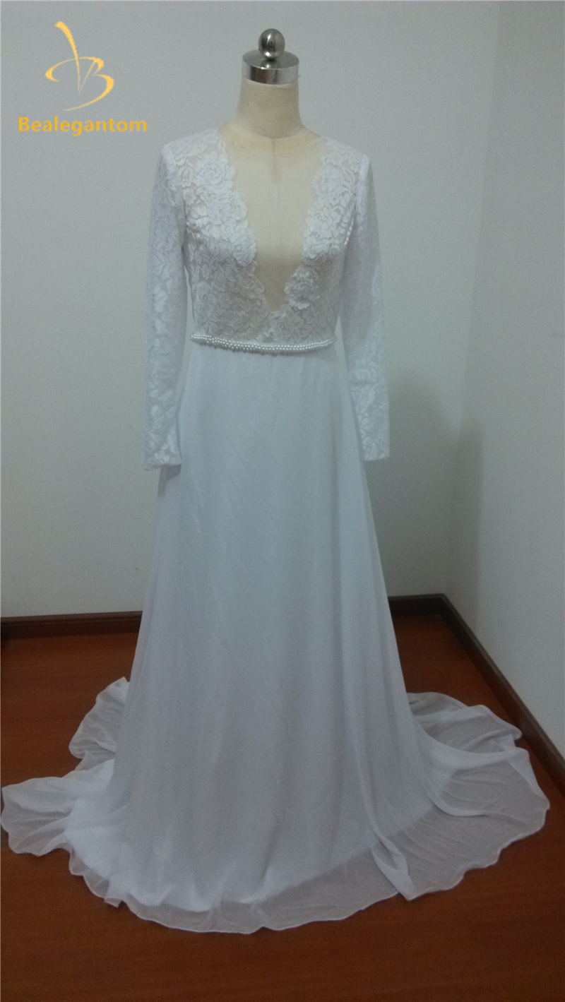 Bealegantom New Elegant Long Sleeves V neck Lace Chiffon Wedding ...