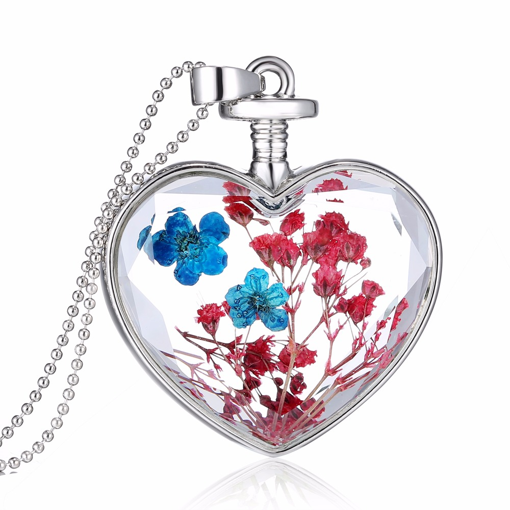 Natural Real Red Decorative Dried Flowers Necklace Pendant Dry Flower Plants Jewelry Heart fashion Glass Necklace drop shipping